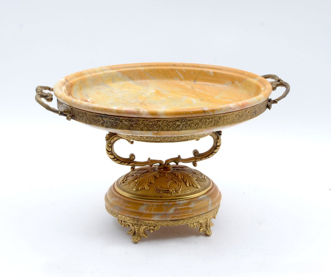 FINE VARIEGATED BUTTERSCOTCH MARBLE IN BRONZE TAZZA