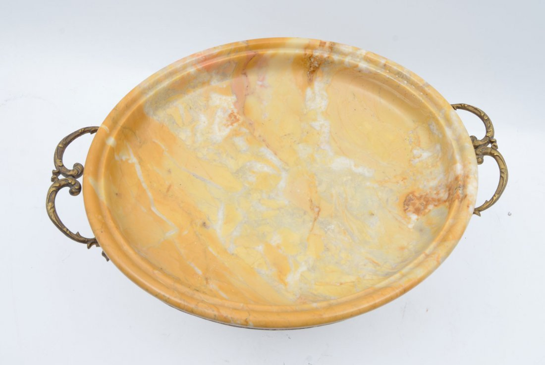 FINE VARIEGATED BUTTERSCOTCH MARBLE IN BRONZE TAZZA - 2