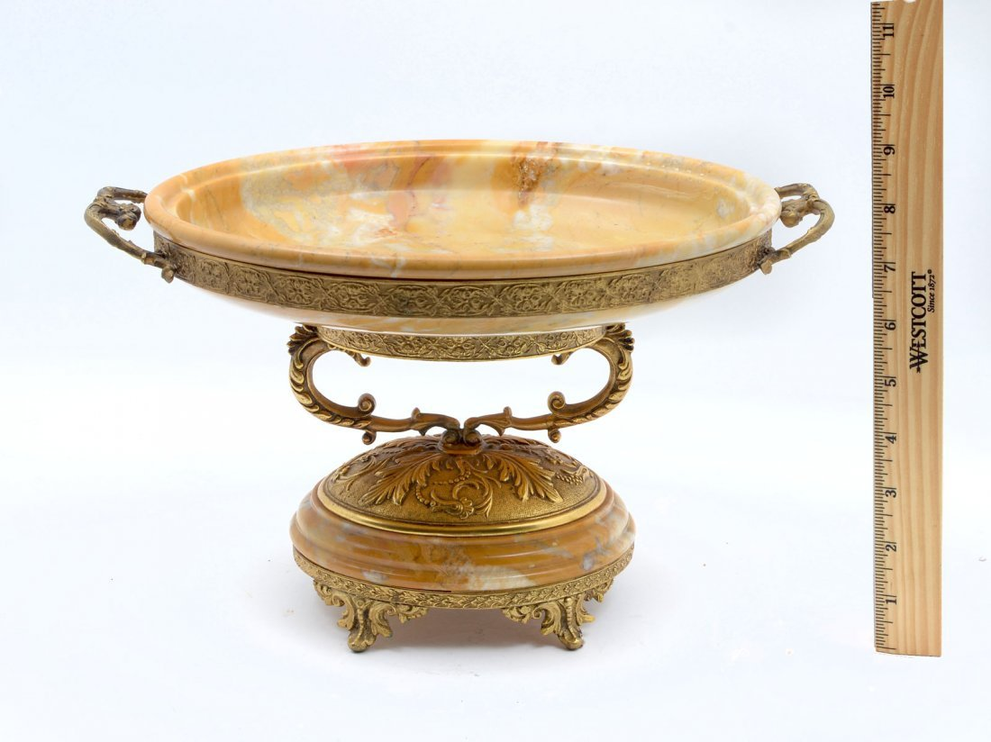FINE VARIEGATED BUTTERSCOTCH MARBLE IN BRONZE TAZZA - 3
