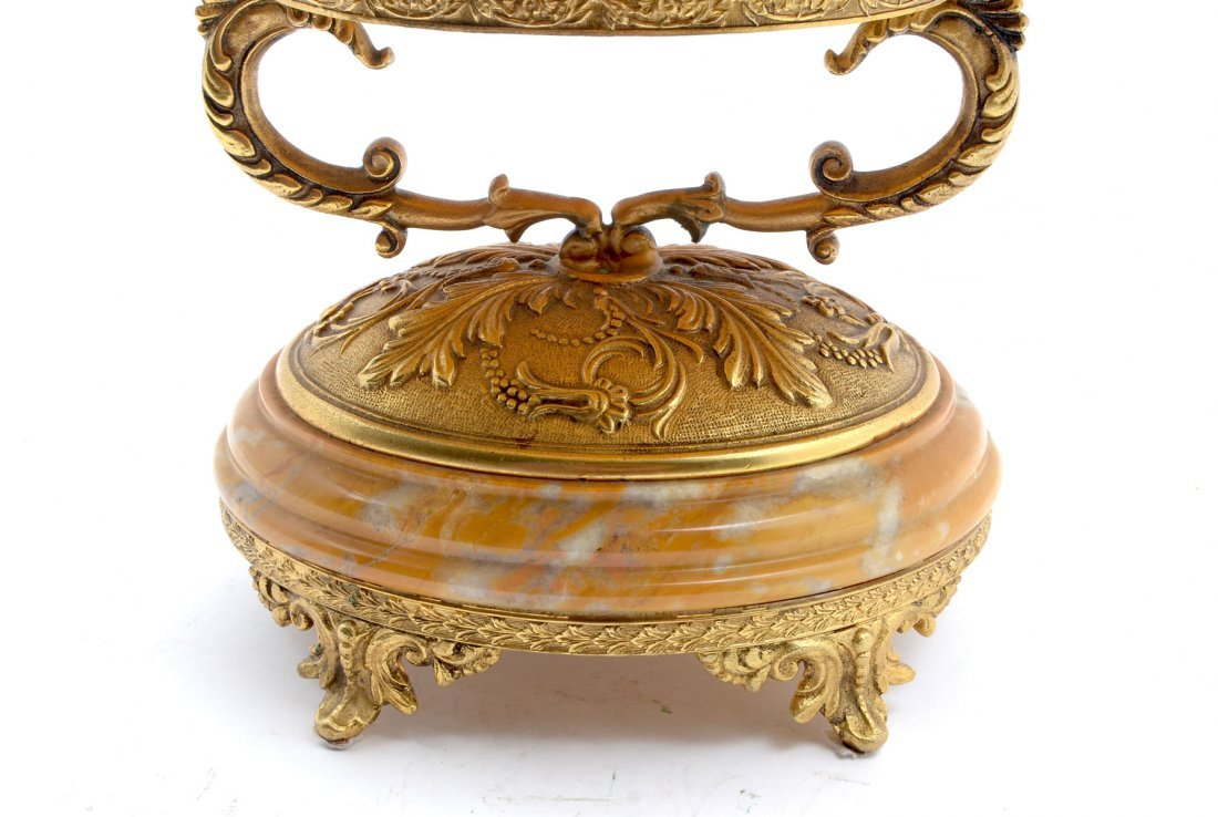 FINE VARIEGATED BUTTERSCOTCH MARBLE IN BRONZE TAZZA - 4