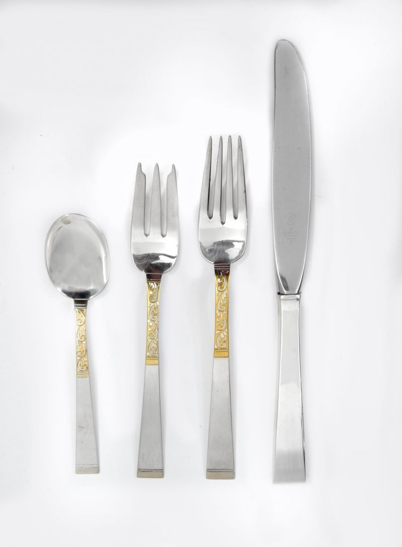 48 PC. GORHAM STERLING AND 18KT. GOLDEN SCROLL FLATWARE - 2