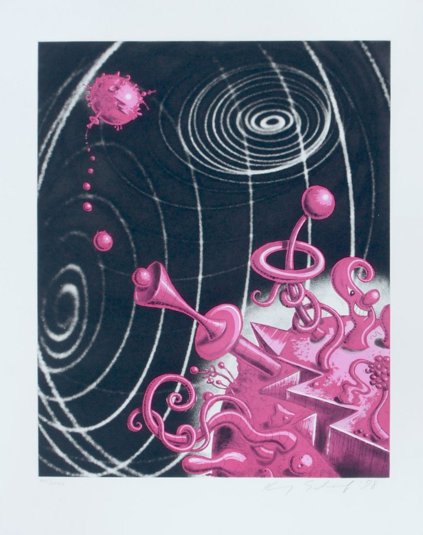 """KENNY SCHARF LITHOGRAPH """"GALAXIVERSE"""" ETCHING"""