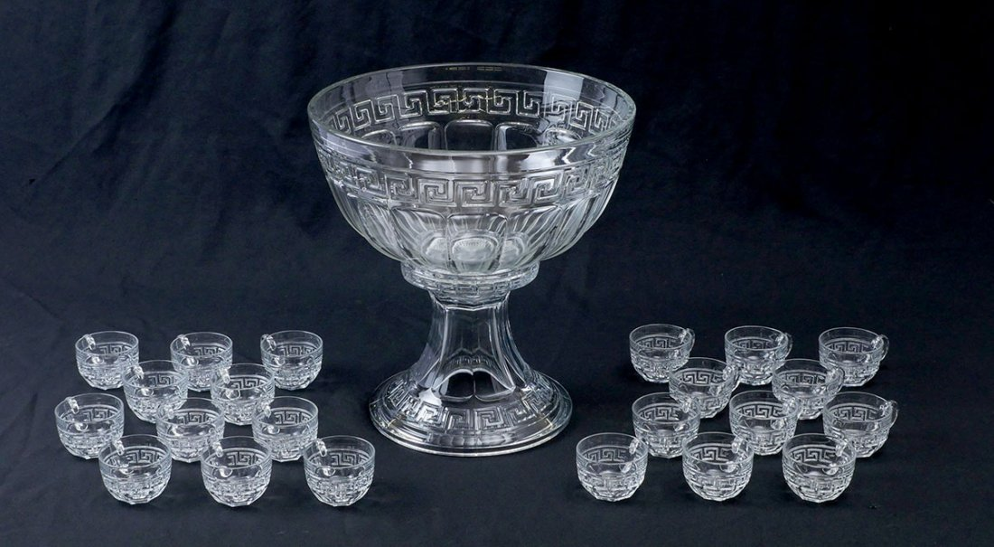 HEISEY GREEK KEY PUNCH BOWL ON STAND & 22 CUPS