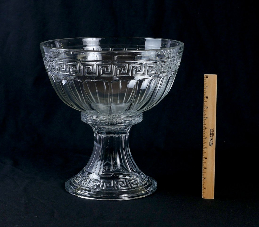 HEISEY GREEK KEY PUNCH BOWL ON STAND & 22 CUPS - 2