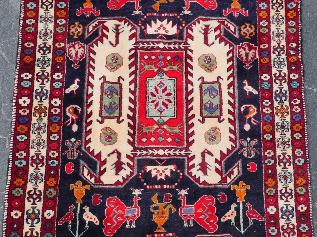 CAUCASIAN DESIGN PERSIAN HAND KNOTTED WOOL RUG, 4' X 11 - 3