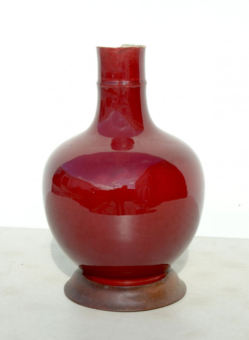 LARGE RED CHINESE VASE