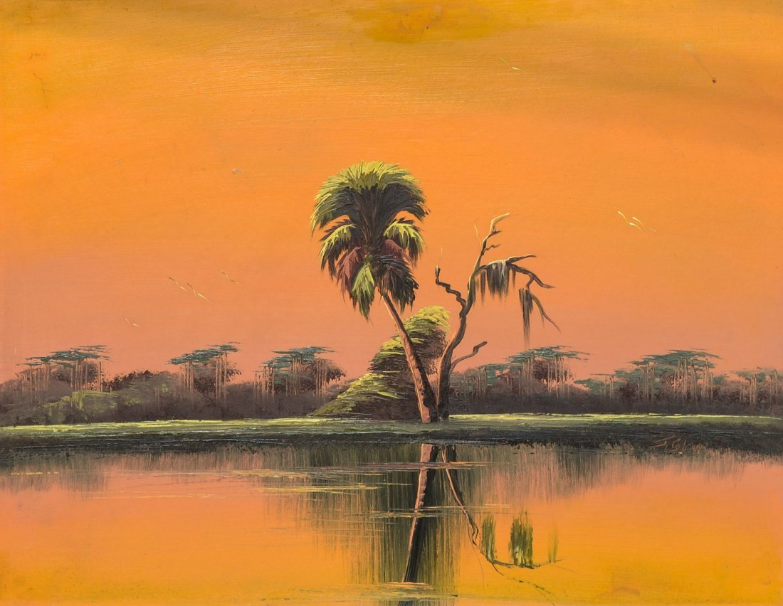 GIBSON FLORIDA HIGHWAYMEN ORANGE SKY PAINTING