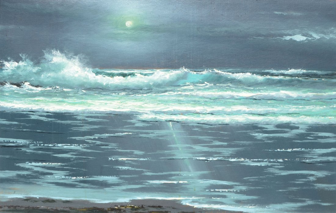 HAROLD NEWTON FLORIDA HIGHWAYMEN MOONLIT SURF PAINTING
