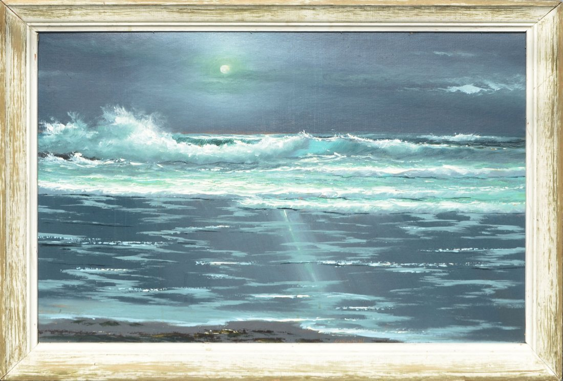 HAROLD NEWTON FLORIDA HIGHWAYMEN MOONLIT SURF PAINTING - 2