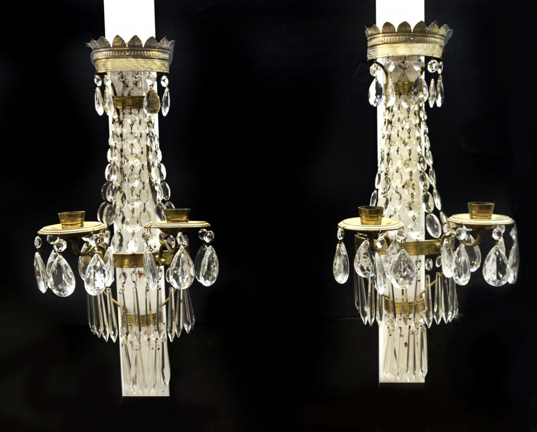 PAIR OF BRASS AND CRYSTAL WALL SCONES