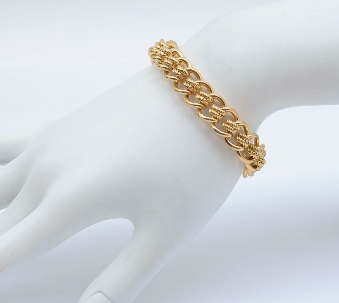 18K MID CENTURY ENGLISH MULTI-LINK BRACELET