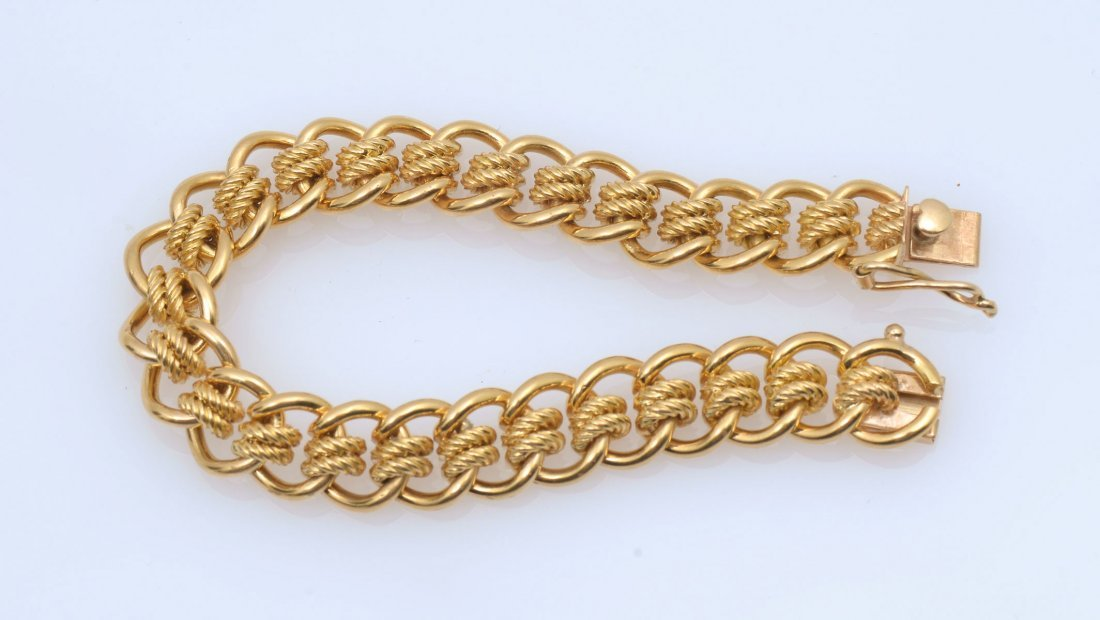 18K MID CENTURY ENGLISH MULTI-LINK BRACELET - 2