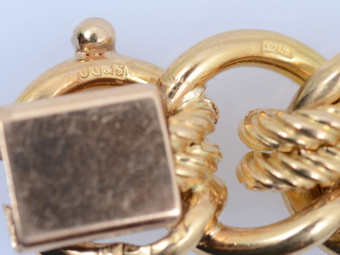 18K MID CENTURY ENGLISH MULTI-LINK BRACELET - 4
