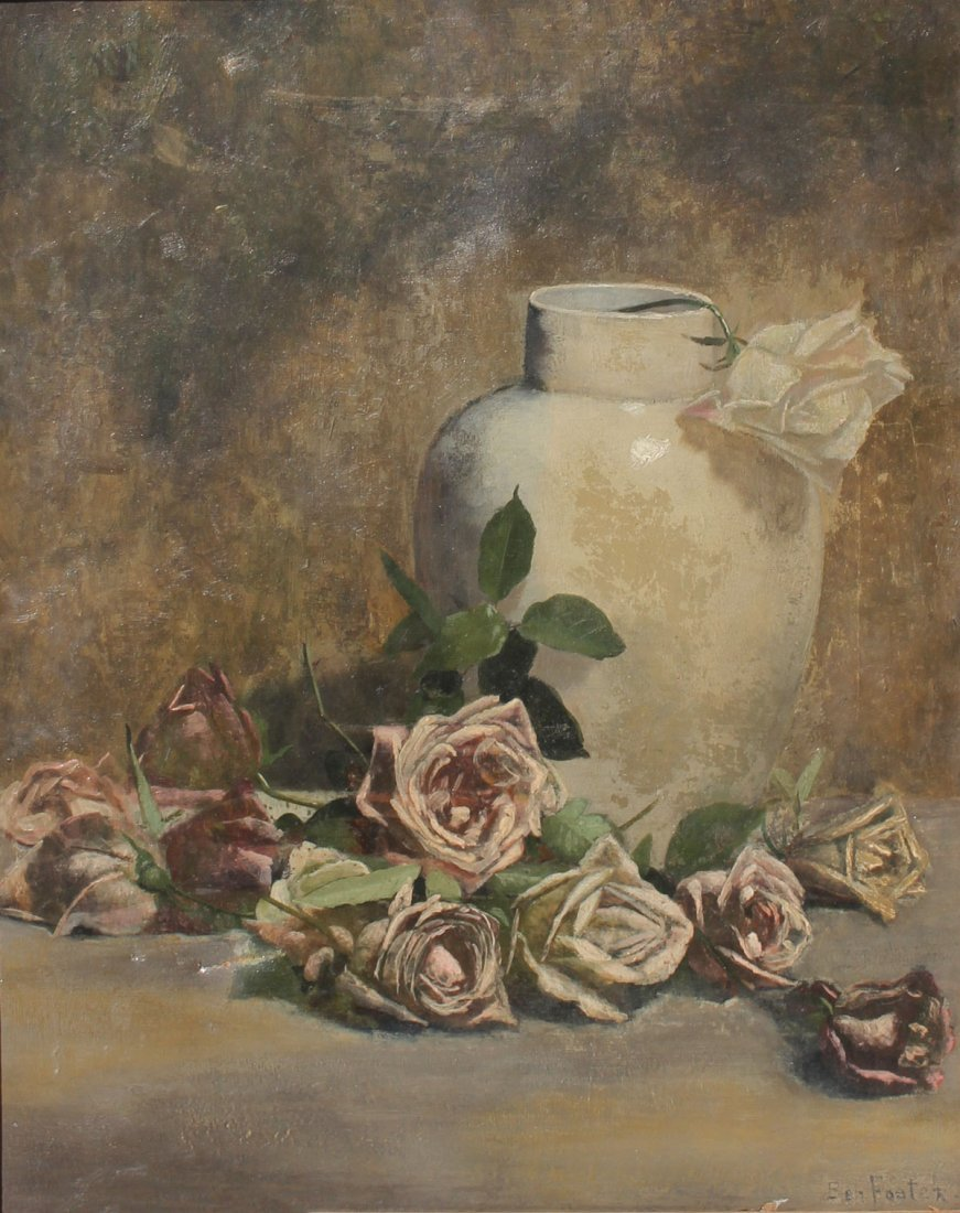 GOOD STILL LIFE PAINTING OF ROSES IN A WHITE VASE