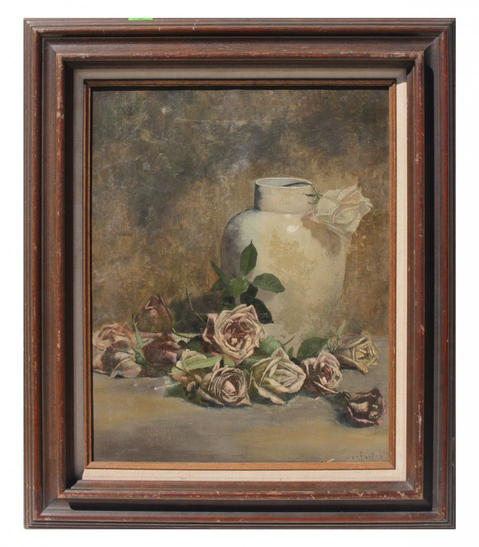 GOOD STILL LIFE PAINTING OF ROSES IN A WHITE VASE - 2