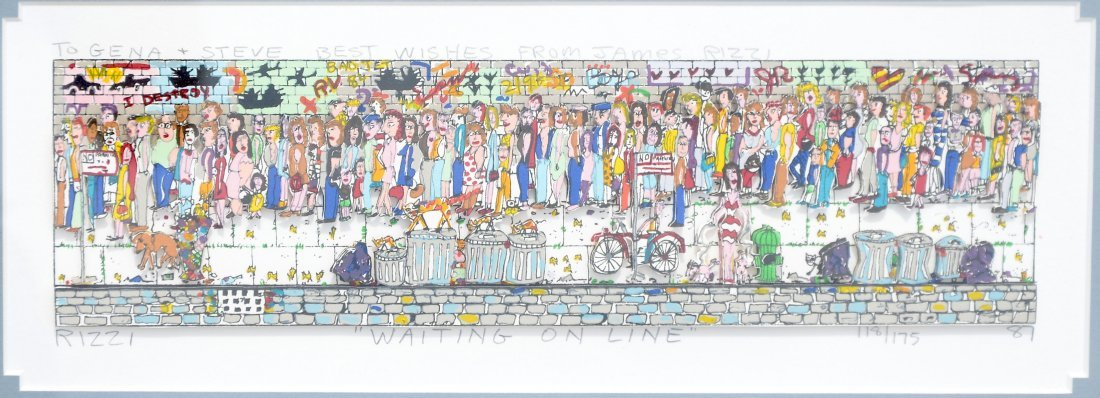 "JAMES RIZZI ""WAITING ONLINE"" 3D SERIGRAPH"