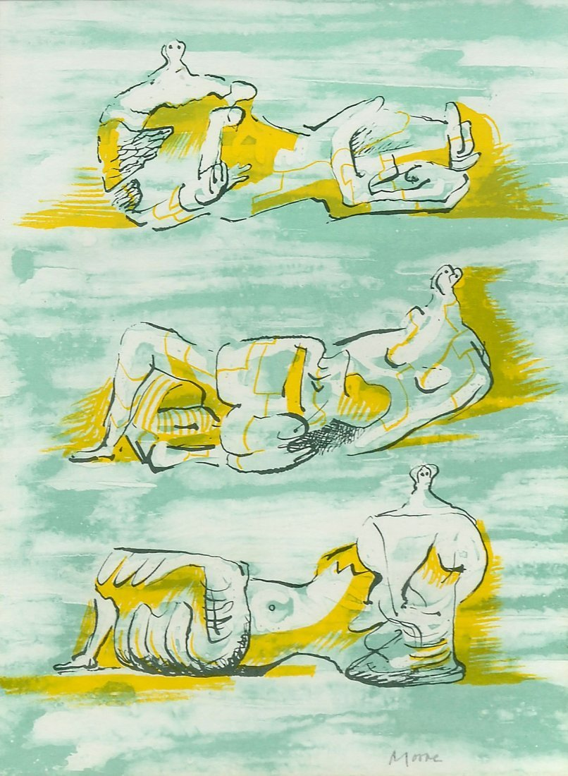 HENRY MOORE RECLINING FIGURES LITHOGRAPH