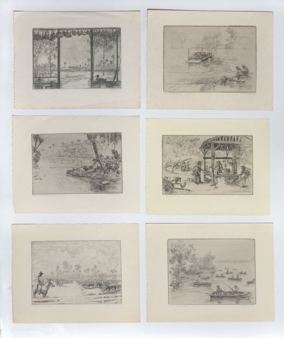 COLLECTION OF 7 KENT HAGERMAN ETCHINGS