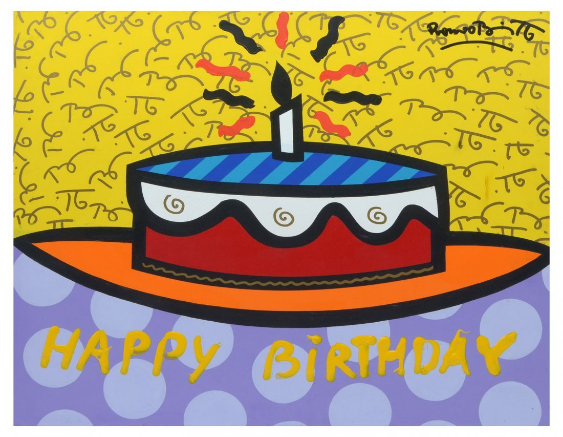 "ROMERO BRITTO PAINTING ""HAPPY BIRTHDAY"""