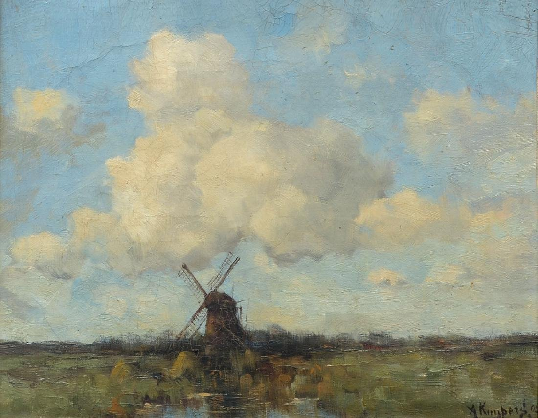 ADRIANUS KUYPERS PAINTING DUTCH WINDMILL LANDSCAPE