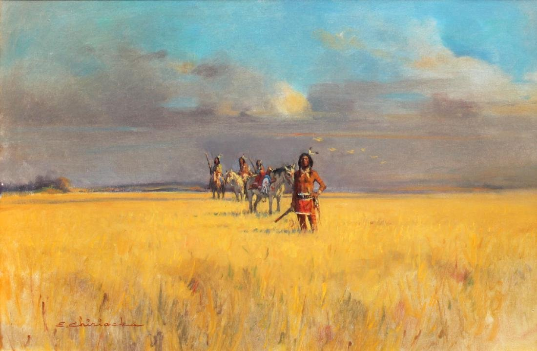 ERNEST CHIRIACKA AMERICAN INDIAN WOUNDED KNEE PAINTING