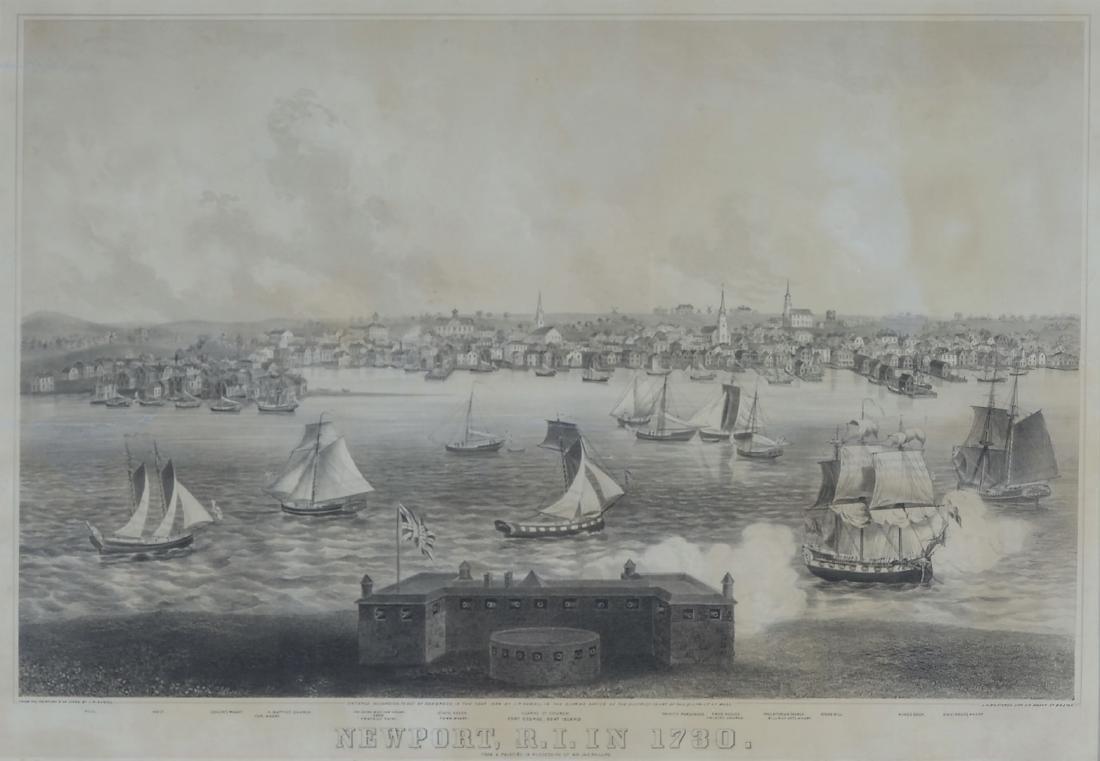 NEWPORT RHODE ISLAND IN 1730 LITHOGRAPH