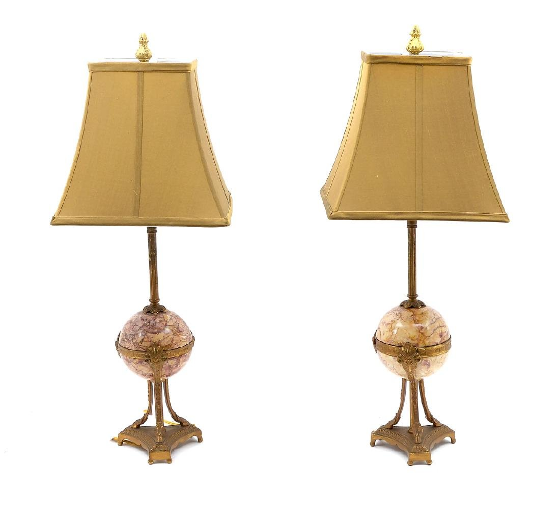 PAIR OF FRENCH ALABASTER & BRASS LAMPS