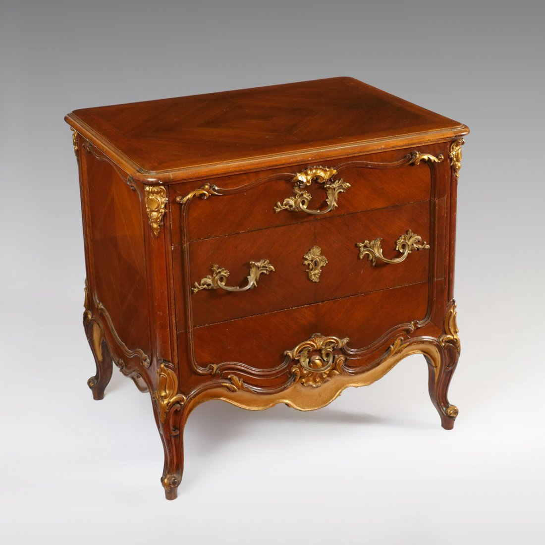 CARVED 3 DOOR FRENCH ORMOLU CHEST