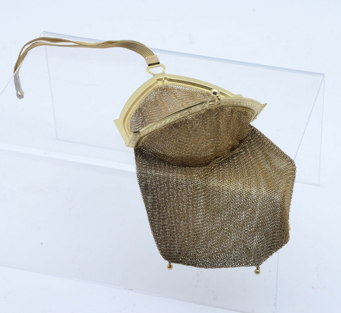 WHITING & DAVIS SOLDERED GOLD MESH PURSE