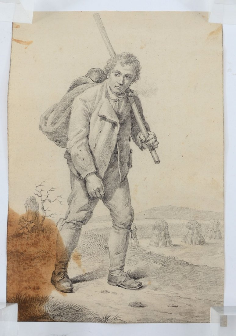 EXCEPTIONAL PENCIL DRAWING STUDY OF A MAN WALKING