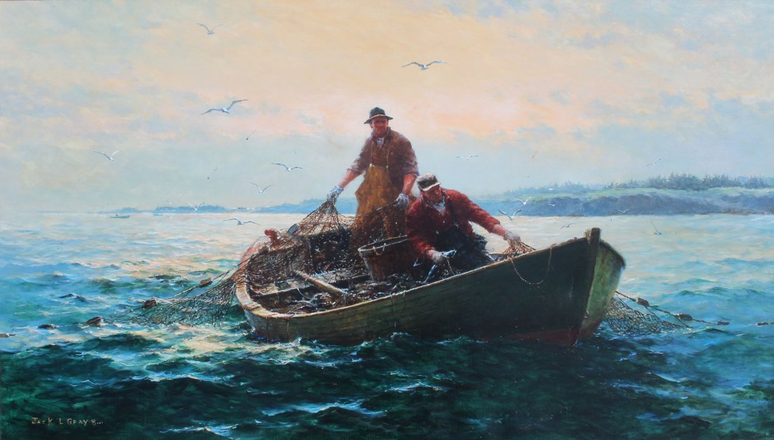 LARGE JACK LORIMER GRAY FISHERMEN NETTING PAINTING