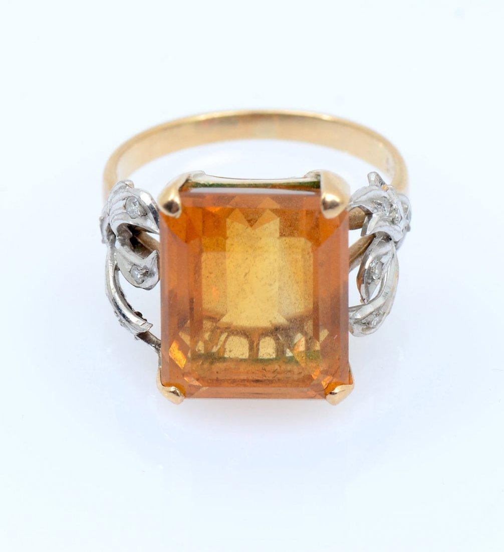 14K CITRINE & DIAMOND RING