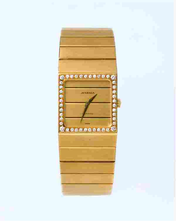 JUVENIA 18K YELLOW GOLD & DIAMOND QUARTZ WATCH
