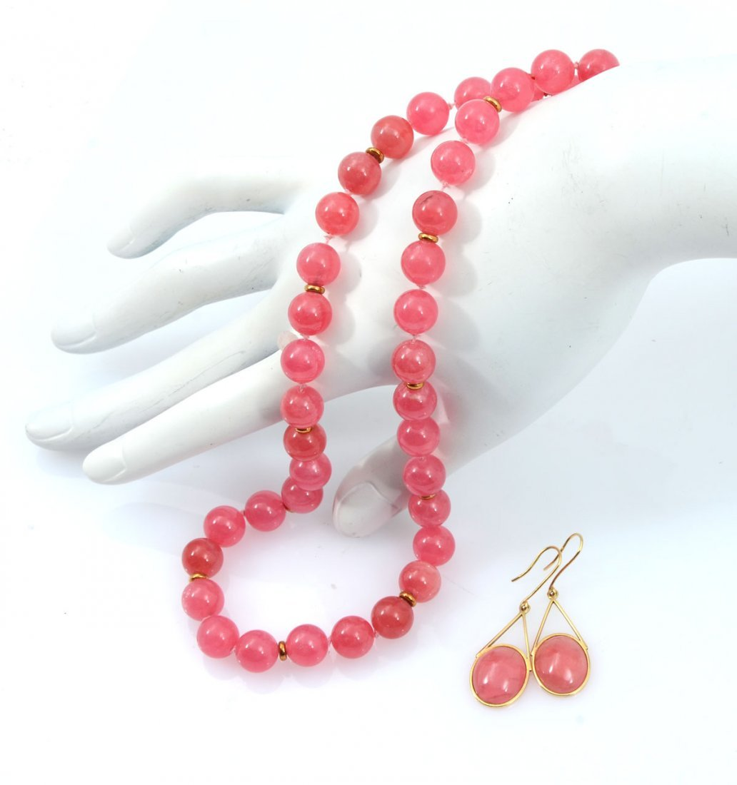 RHODOCHROISITE EARRINGS AND BEAD NECKLACE