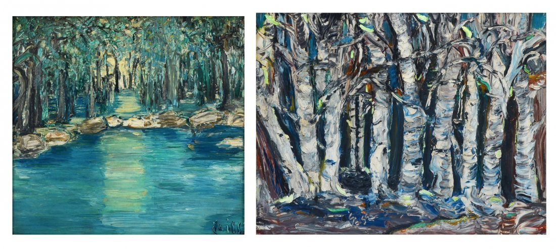 PR OF ILLEGIBLY SIGNED PALETTE KNIFE PAINTINGS OF TREES