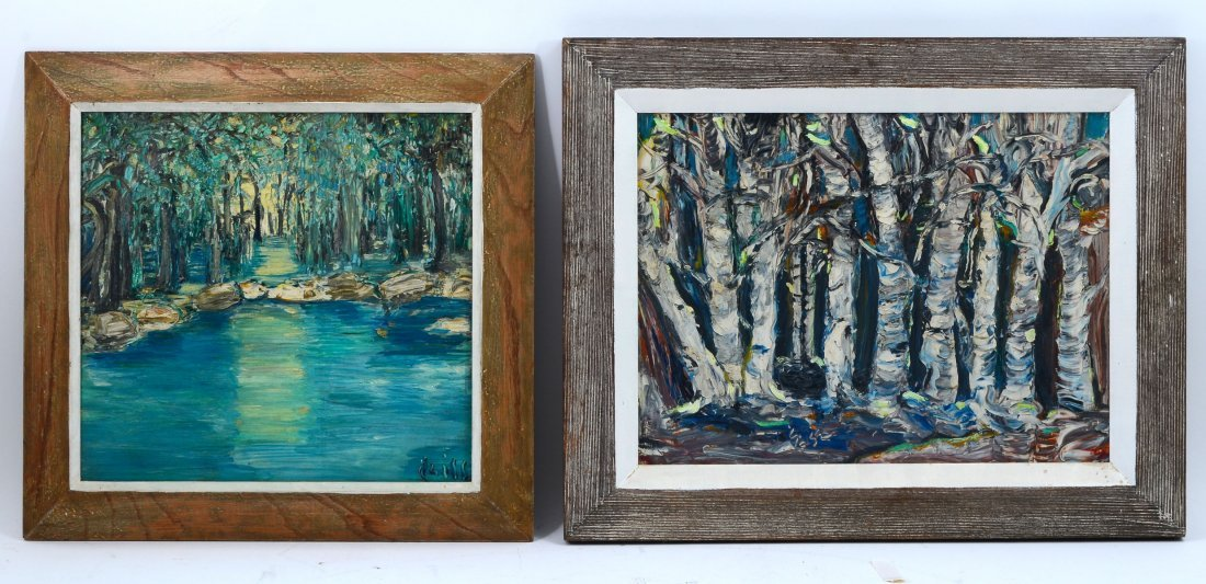 PR OF ILLEGIBLY SIGNED PALETTE KNIFE PAINTINGS OF TREES - 2