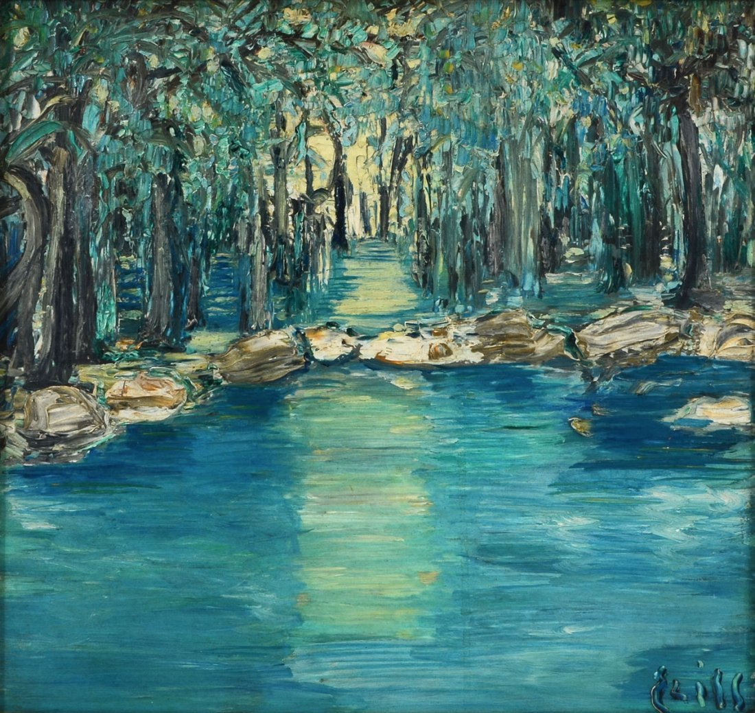 PR OF ILLEGIBLY SIGNED PALETTE KNIFE PAINTINGS OF TREES - 3