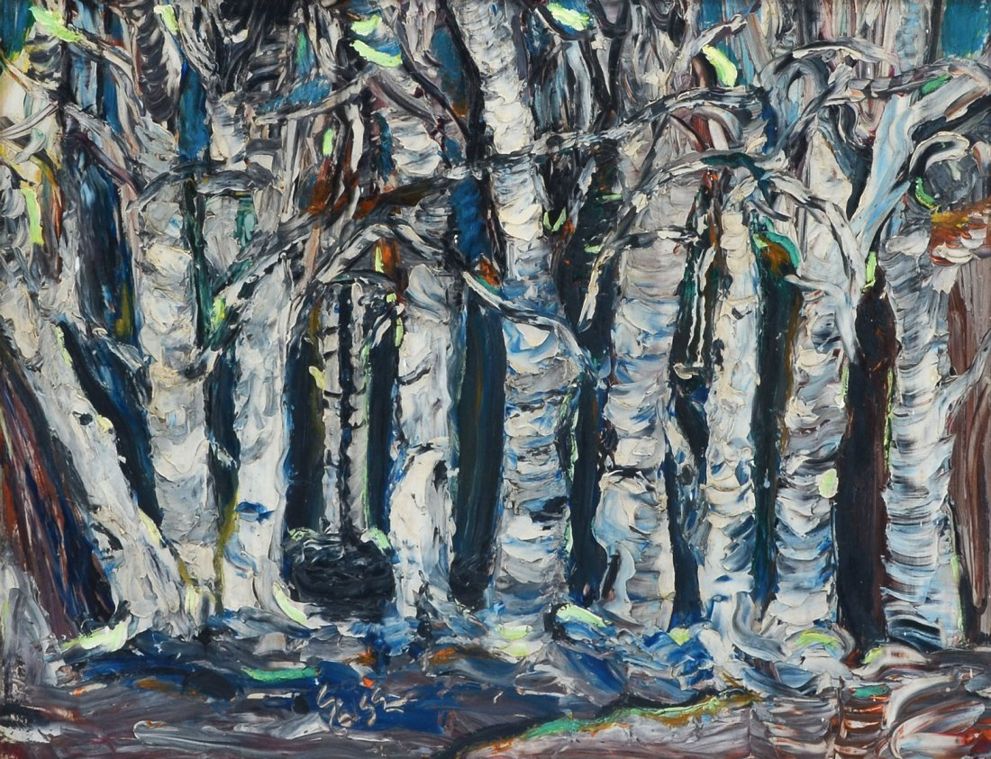 PR OF ILLEGIBLY SIGNED PALETTE KNIFE PAINTINGS OF TREES - 5