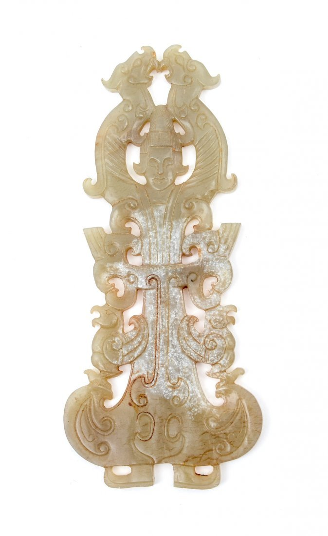 OLD CARVED JADE DRAGON WOMAN