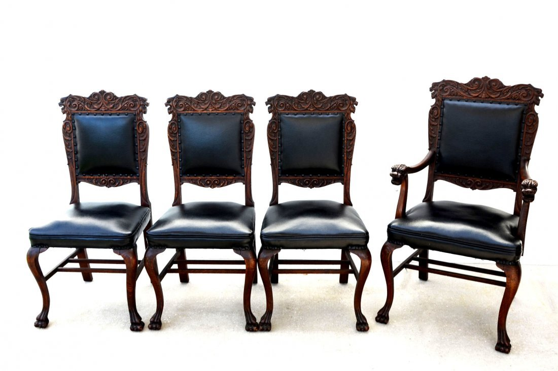 4 CARVED OAK LION CHAIRS