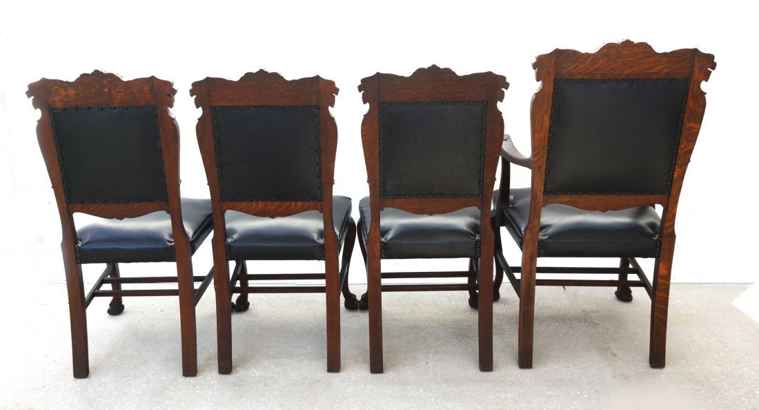 4 CARVED OAK LION CHAIRS - 5