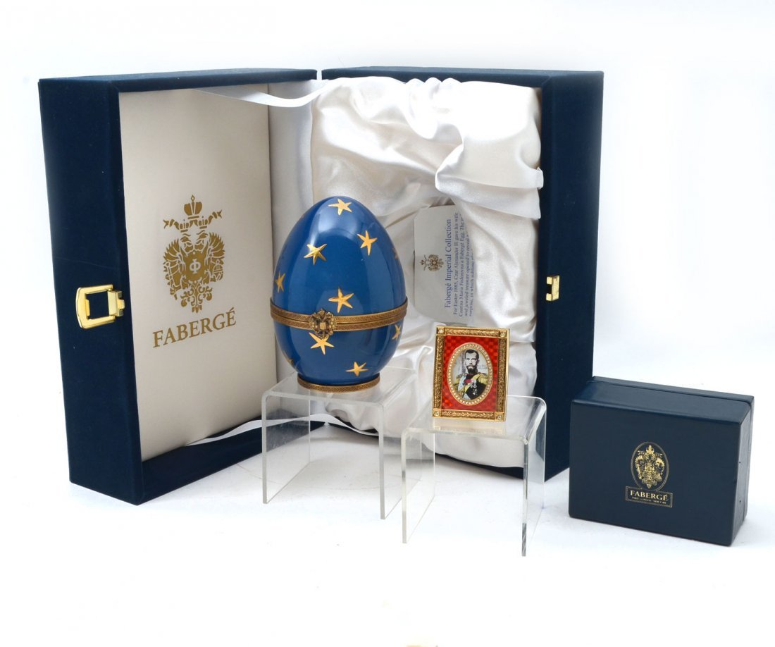 FABERGE BLUE STAR EGG & RED ENAMEL PHOTO FRAME