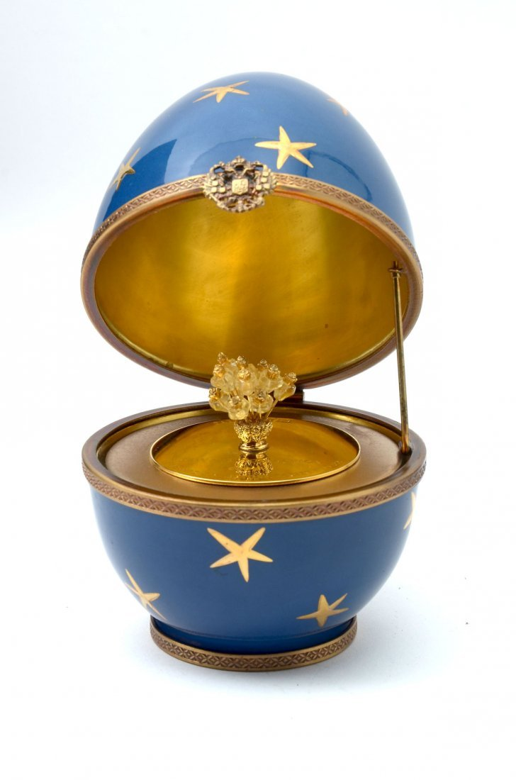 FABERGE BLUE STAR EGG & RED ENAMEL PHOTO FRAME - 4