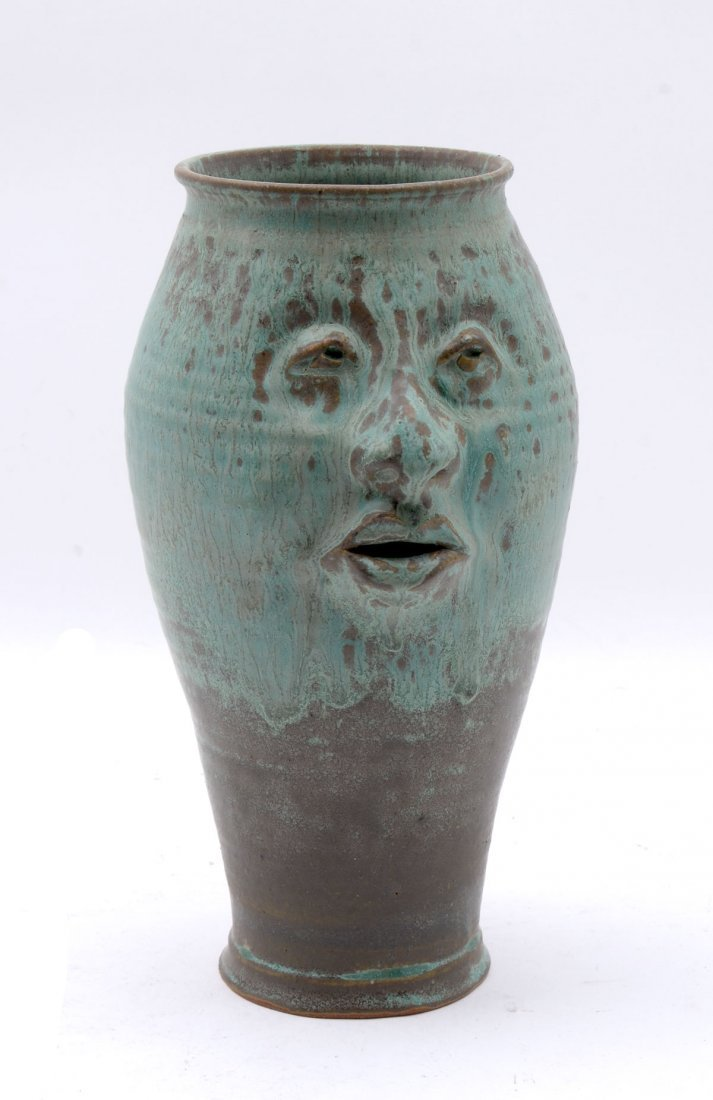 BRUCE FONTAINE FACE POTTERY VASE