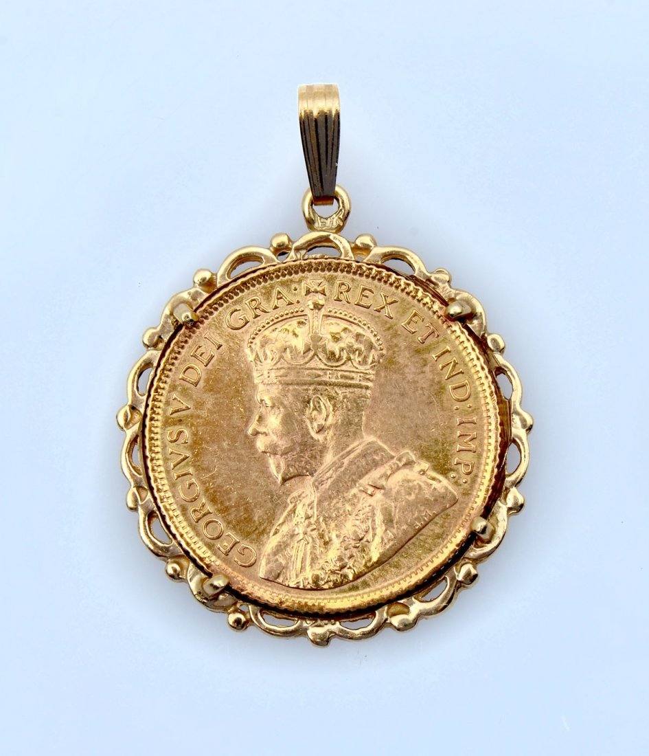 1913 CANADIAN $5 GOLD COIN/PENDANT