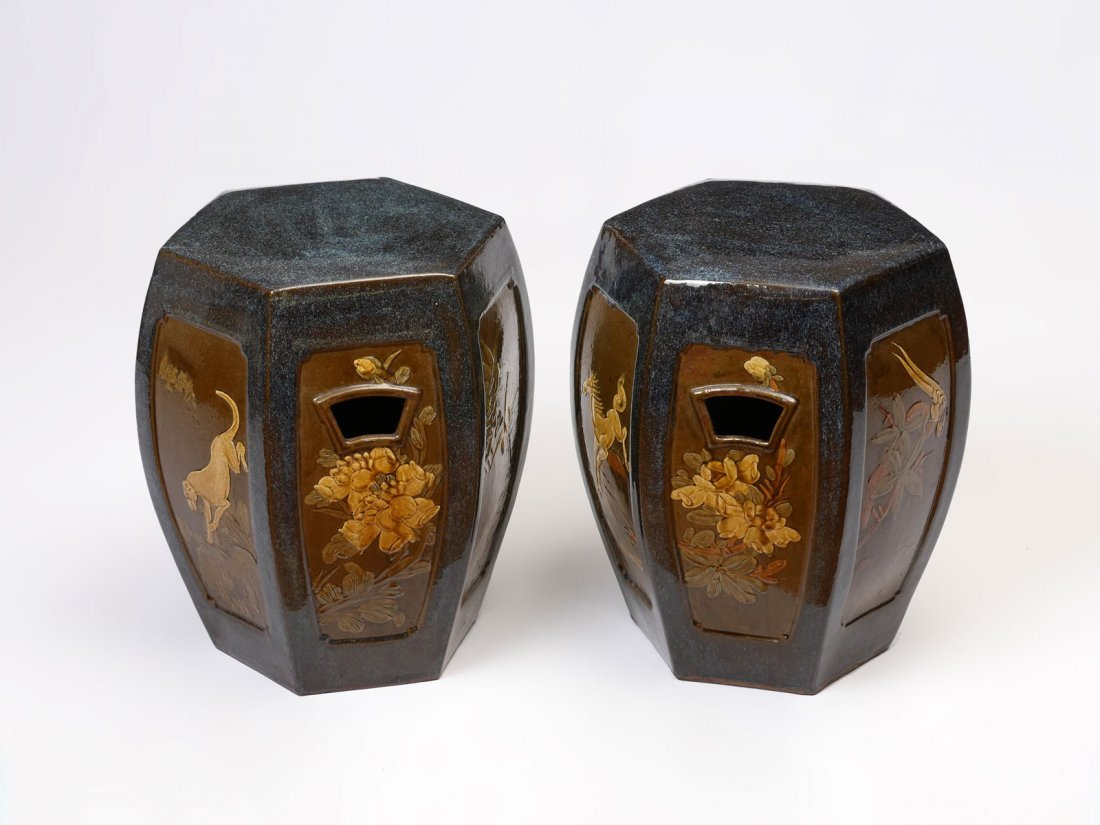 2 CHINESE HEXAGONAL GARDEN SEATS