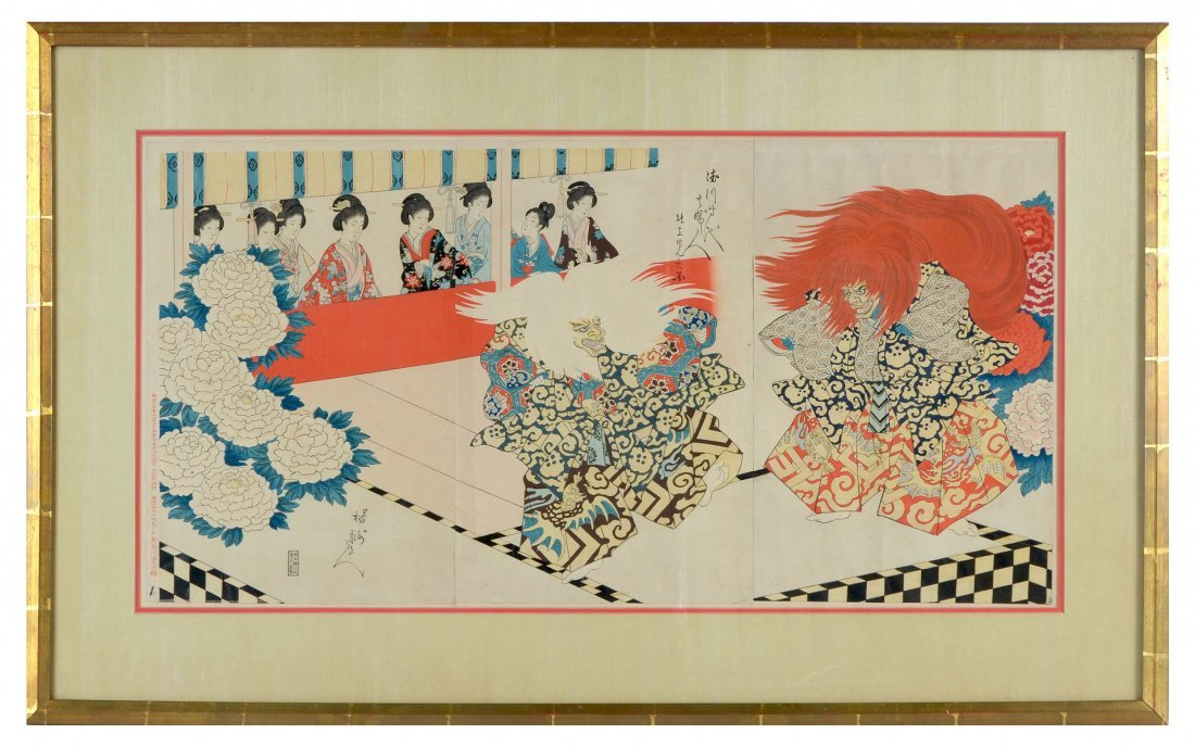 CHIKANOBU WOODBLOCK TRYPTIC