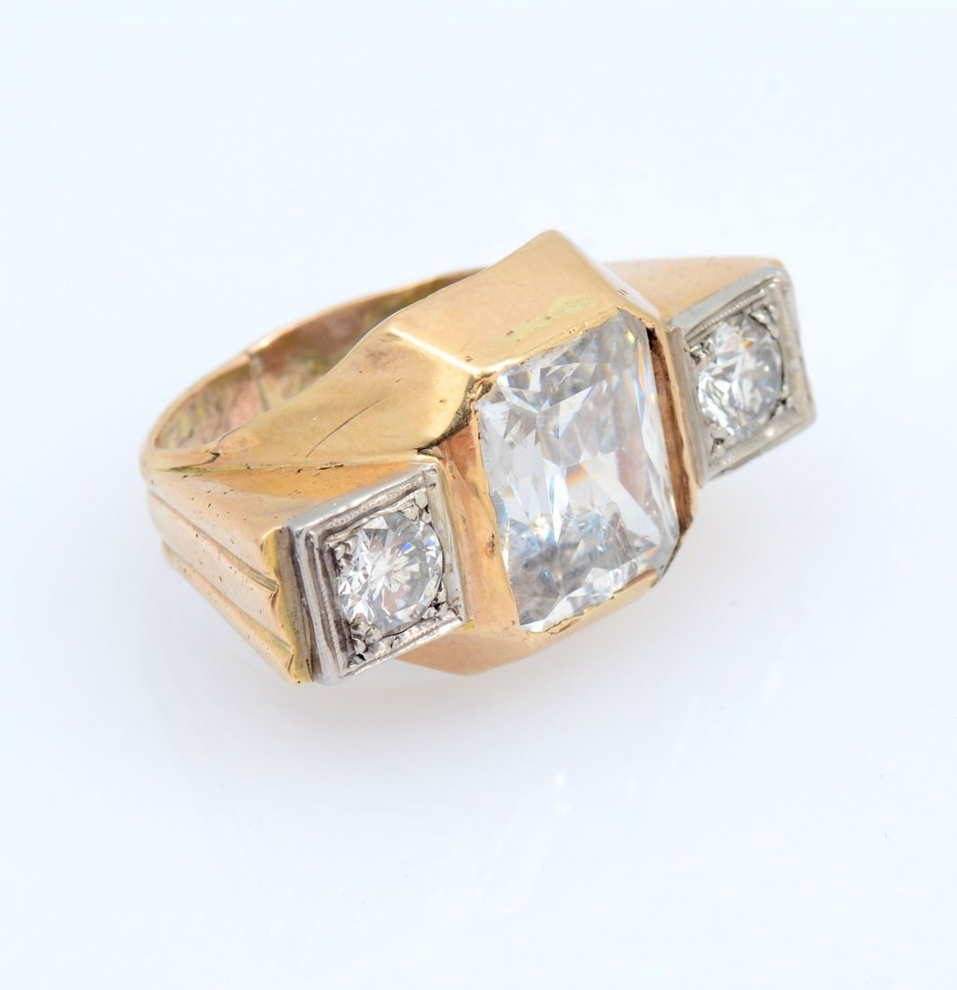 14K CZ & DIAMOND RING