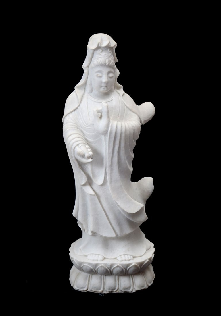 KWAN YIN CARVED MARBLE SCULPTURE
