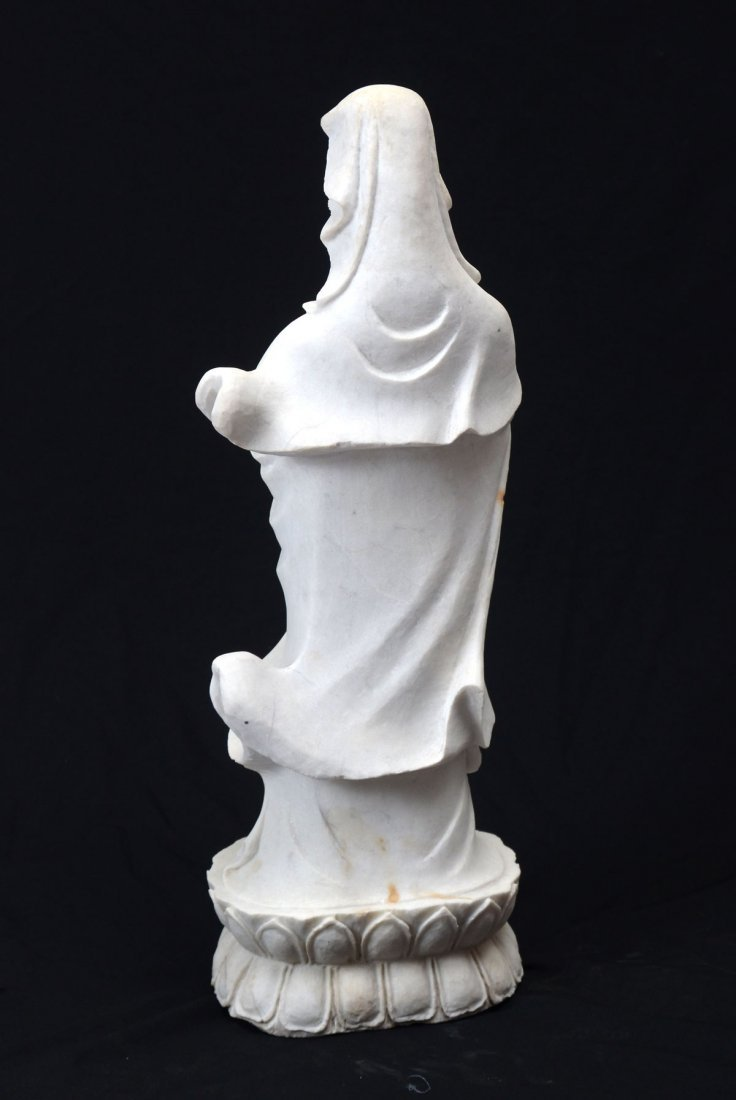 KWAN YIN CARVED MARBLE SCULPTURE - 3